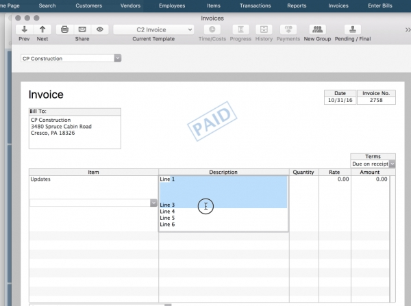 Solution: Printing Multiple Lines of Text on Quickbooks 2015-2016 Invoice