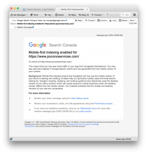 Receive this email From Google: 'Mobile-first indexing enabled for yoursite.com'?